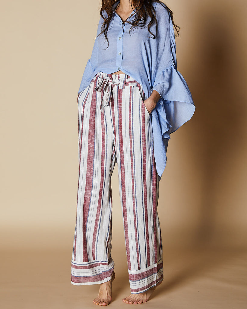 Cherry Lane | Frill Waist Stripe Pant | Burgundy