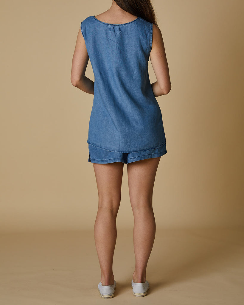 Cherry Lane | Sleeveless Top | Denim Blue