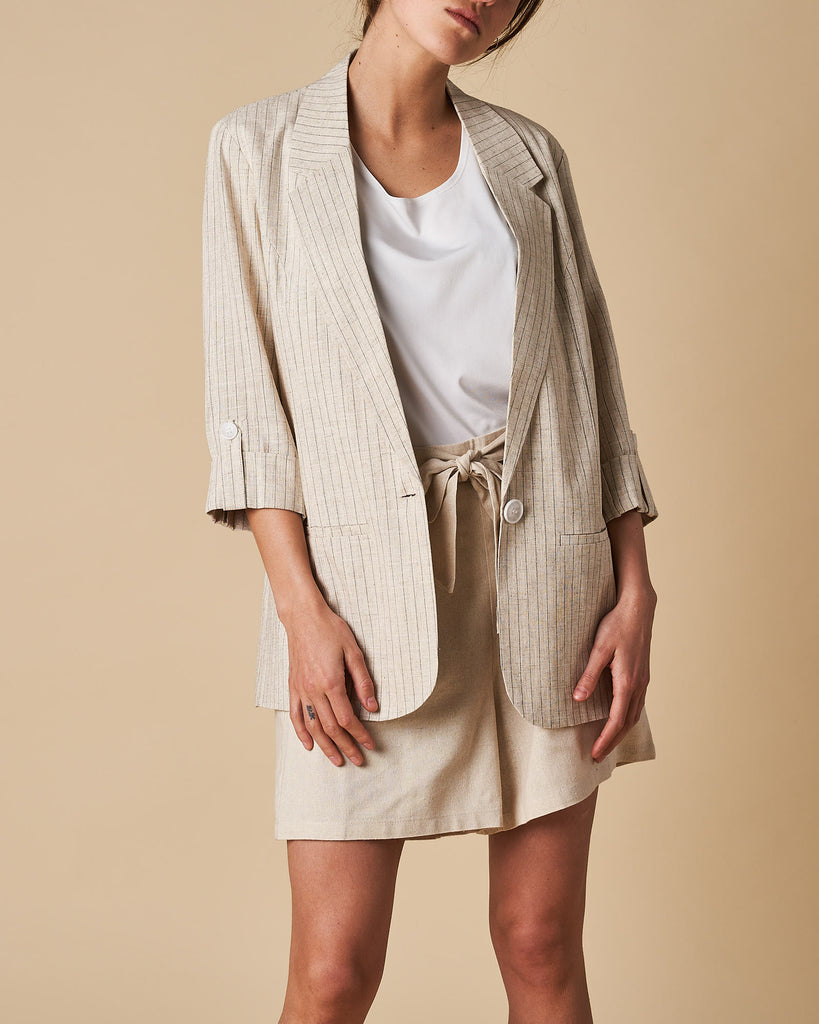 3/4 Sleeve Jacket - Natural Thin Stripe