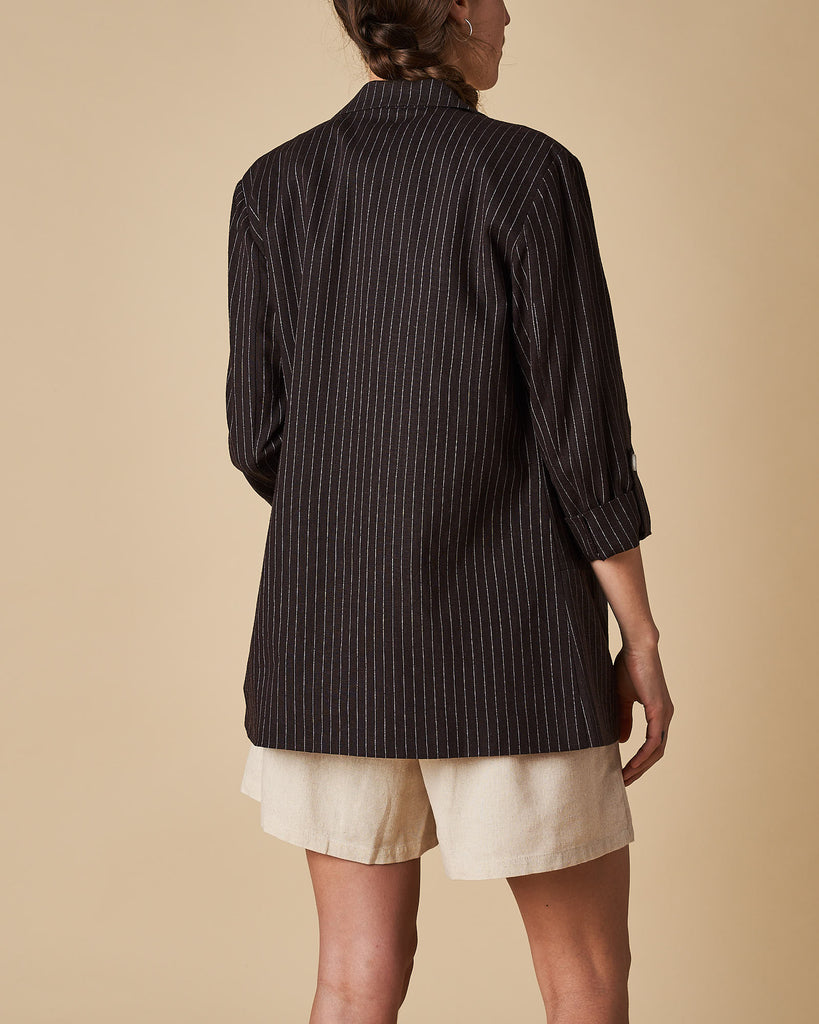 3/4 Sleeve Jacket - Black Thin Stripe