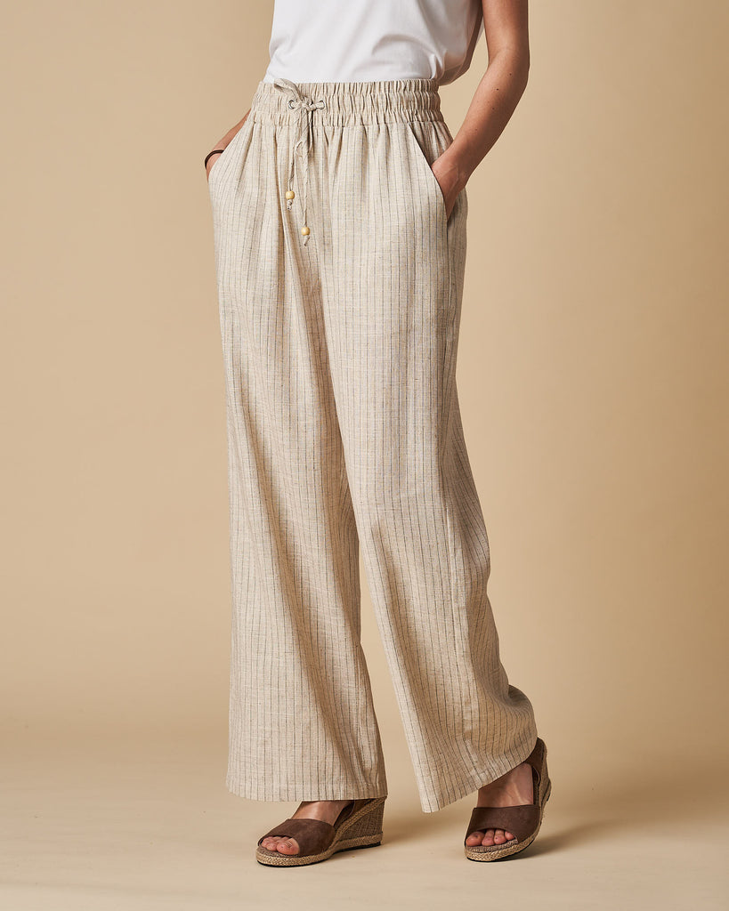 Full Length Pant - Natural Thin Stripes