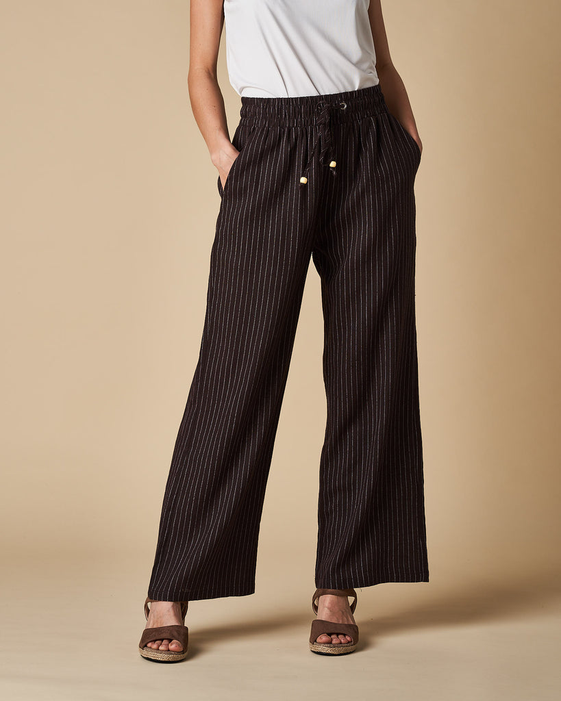 Full Length Pant - Black Thin Stripes