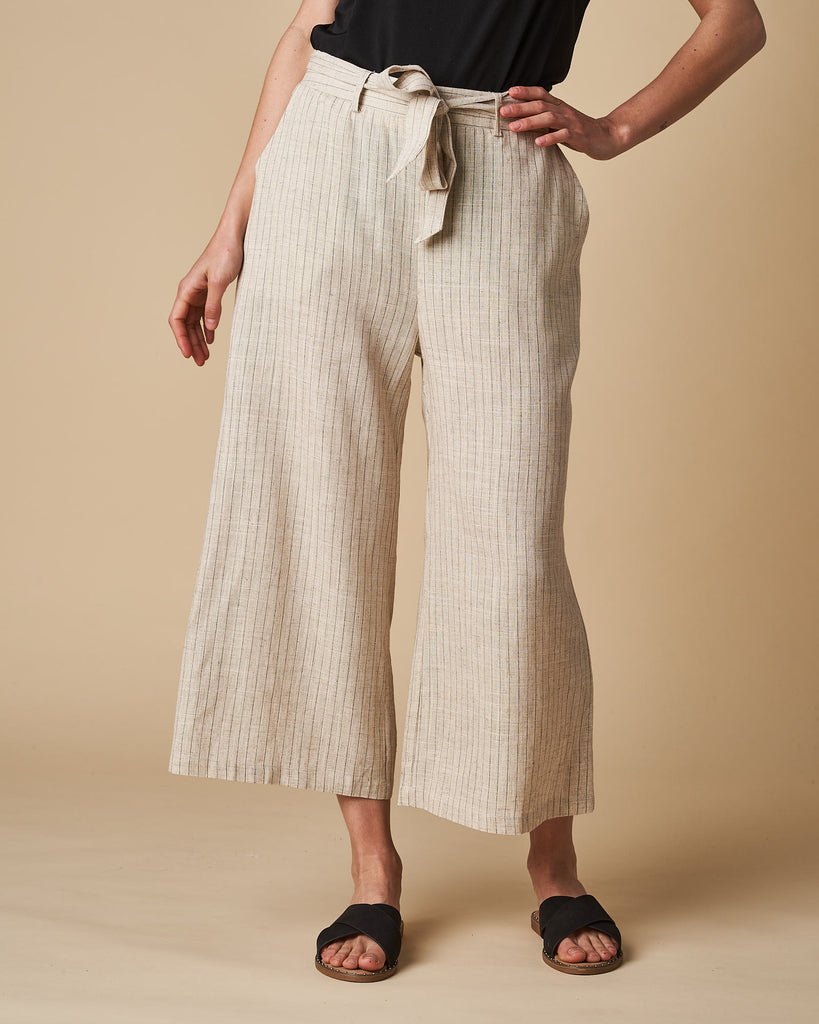 3/4 Elastic Waist Pant - Natural Thin Stripes