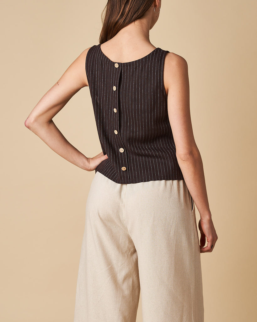 Button Back Crop Top - Black Thin Stripe