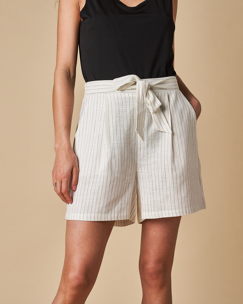 Tie Front Short - White Thin Stripes