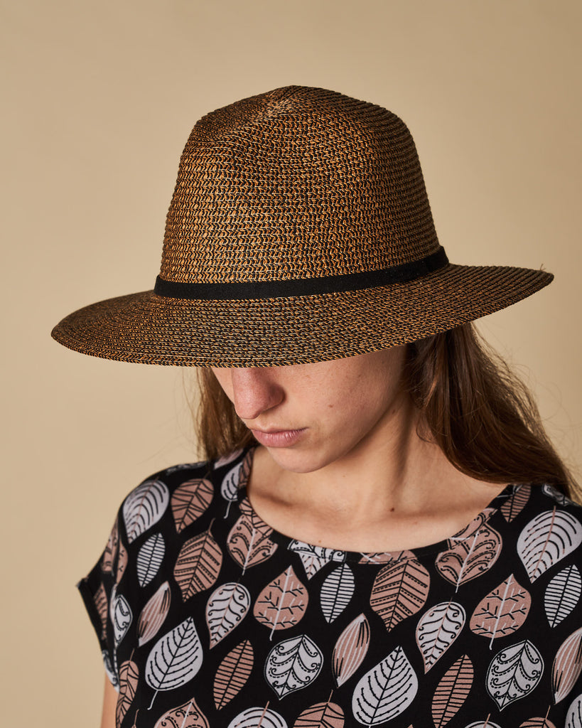 Short Brim Hat With Contrast Trim