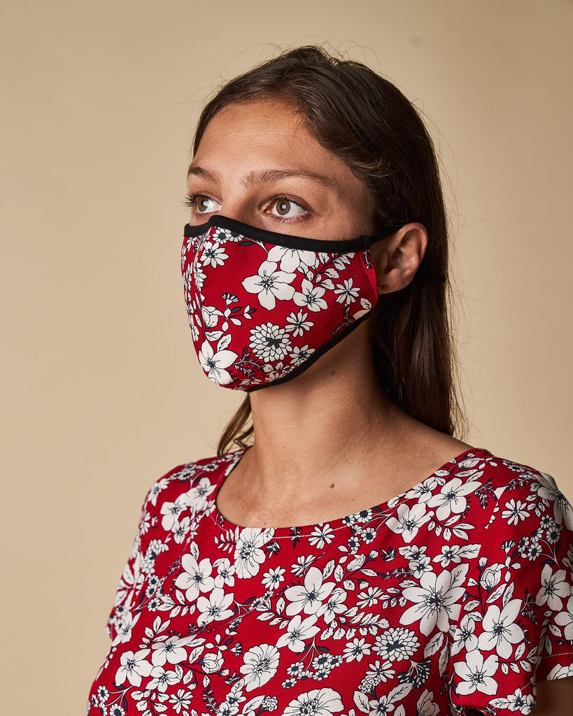 Cloth Mask - Red Floral Print