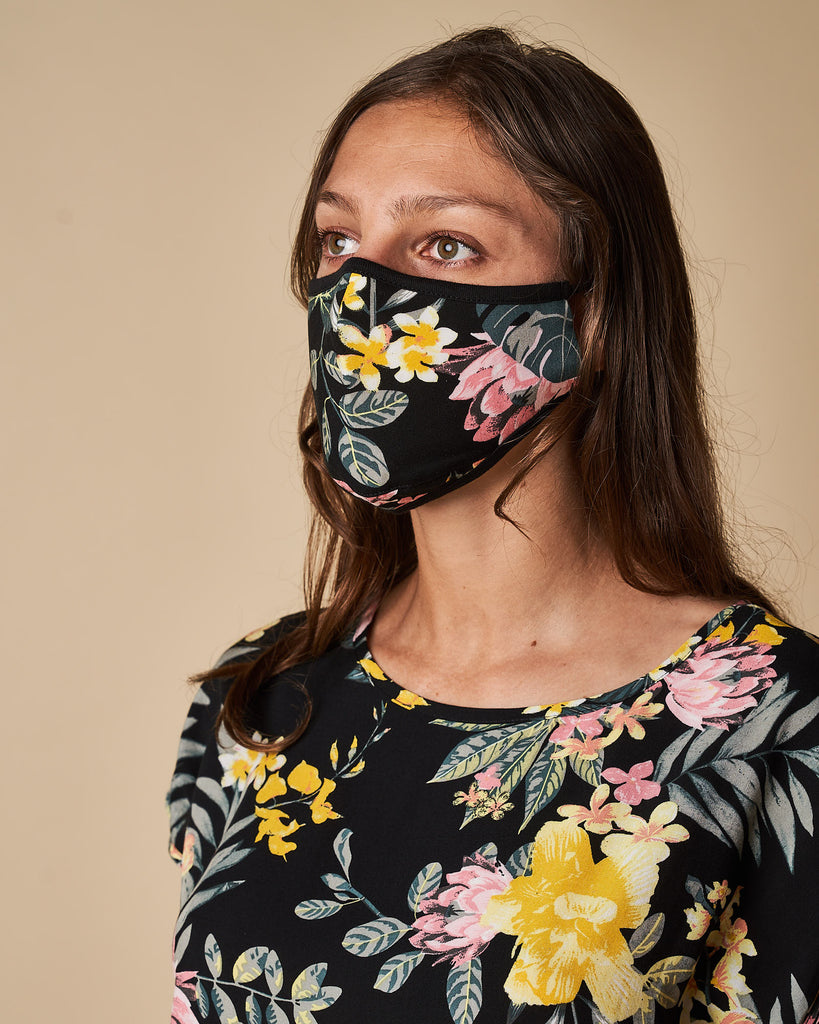 Cloth Mask - Yellow Floral Print