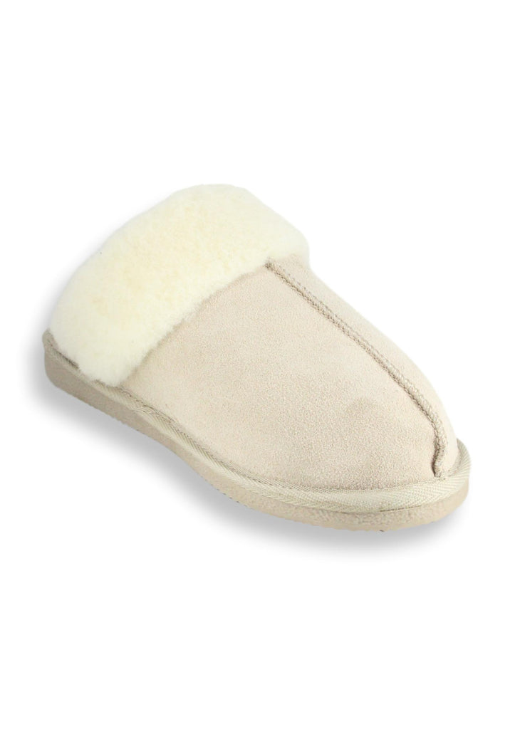 Cow Suede Slippers Slide Beige