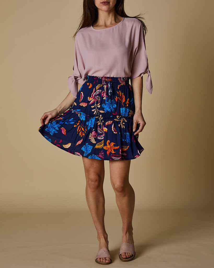 Navy coral hibiscus layer short skirt