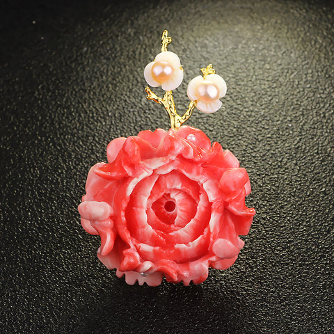 Jewelry Pink Shell Powder Peony Flower Brooches
