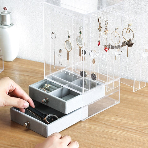 Acrylic Jewelry Organizer Box for Necklace Earrings Bracelet Hanger