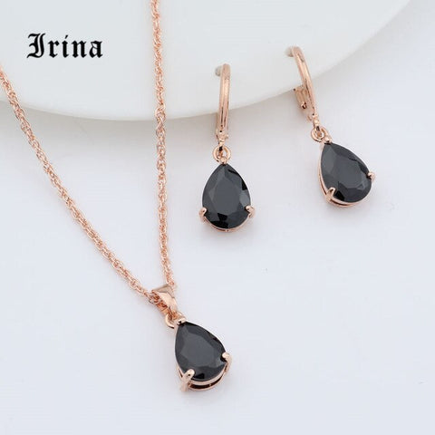 Rose Gold Charming necklace pendant drop earrings set