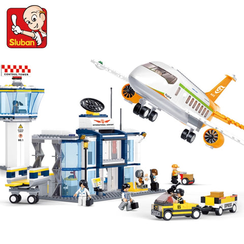 3D City Plane Airport Model Building Kits Compatible With lego Blocks