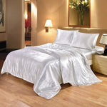 4pcs Luxury Silk Bed Set Comforter Quilt Duvet Cover Linens with Pillowcases and Bed Sheet