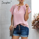 Summer Casual Solid Tops Half Sleeve