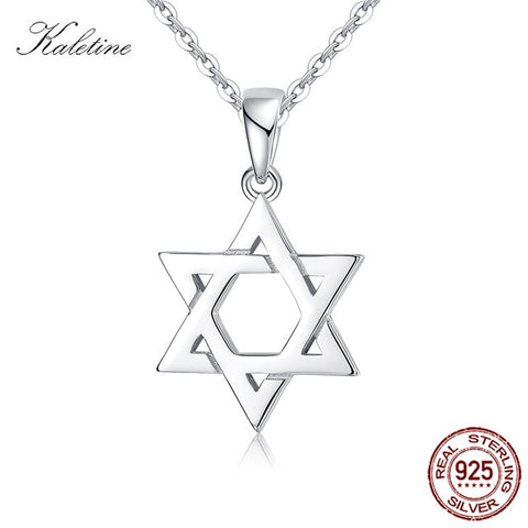 Silver Necklace Women Men Star of David