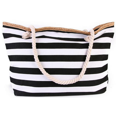 Large Beach Canvas Striped Tote Bag