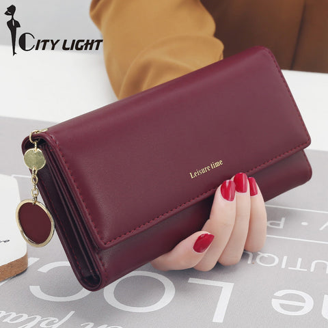 Women's Leather Clutch Multi-functional Wallet With Card Holder