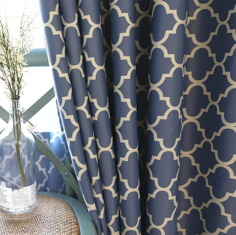 2 Colors Screen Printing European Style Blackout Curtain