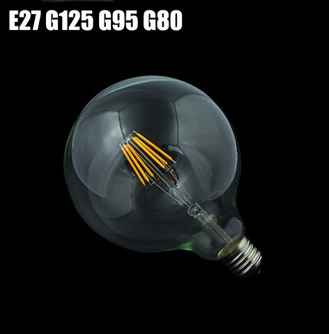 1x New E27 LED Filament Light Glass Dimmable Bulb Lamps 230V 220V 4W - 8W 360 Degree Retro Lamp Lighting Edison G125 G95 G80