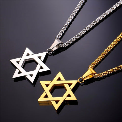 Star Of David Pendant Chain Necklace Women