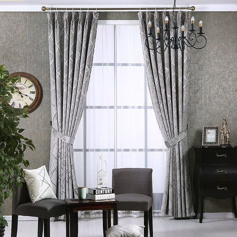 Chenille Silver Jacquard Blackout Curtains