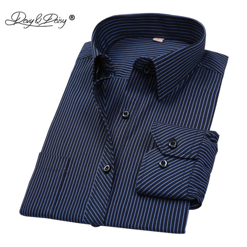Hot Sale Men Shirt Long Sleeved Stripe-Solid-Plaid