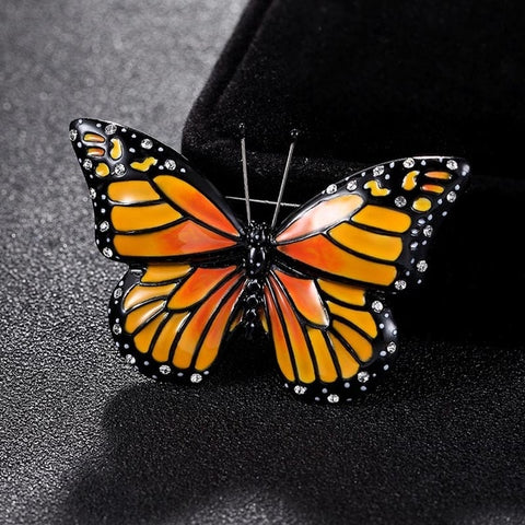 Orange Enamel Butterfly Brooch