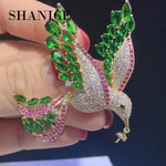 Green Bird Full Crystal Brooch
