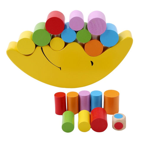 Toy Wood Moon Balancing Building Blocks