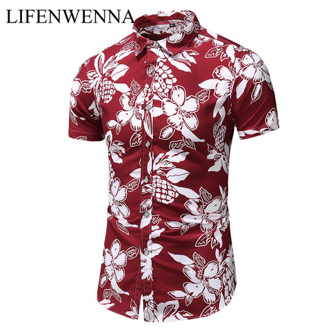 Short Sleeve Hawaiian Beach Shirts Slim Fit