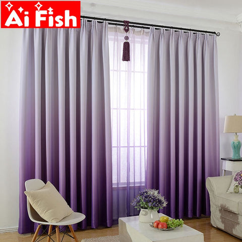 Purple Gradient Shade Curtains For Living Room
