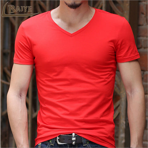 Men's Cotton Classic Short Sleeve V-neck Solid Color
