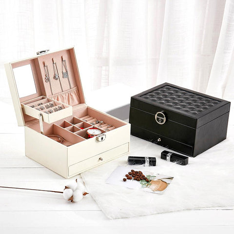 Large Fashion Design Leather Jewelry Box