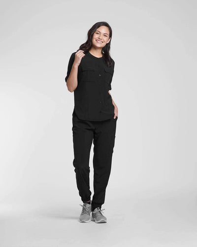 Fashion scrub tops and pants in black