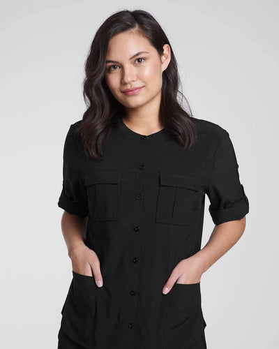 Fashion scrub top in black by Happily Scrubbed