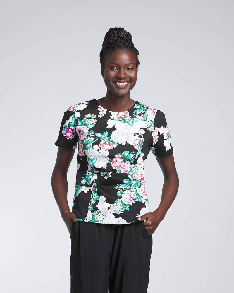 Floral medical scrub top & Jogger scrub pant by Happily Scrubbed