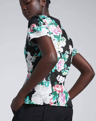Black floral medical scrub top by Happily Scrubbed