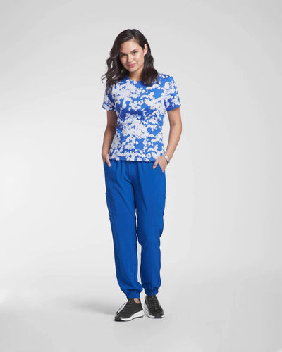 Blue floral medical scrub top & Jogger scrub pant by Happily Scrubbed