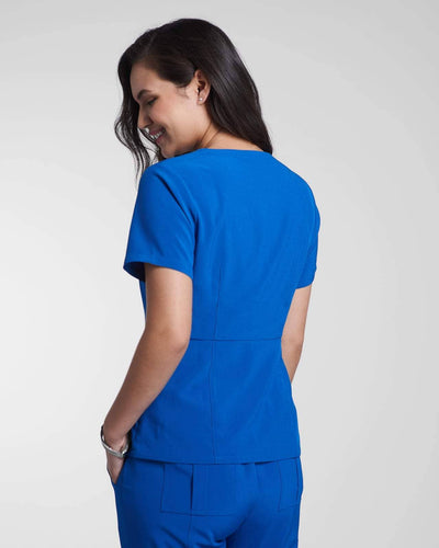 Fashion medical & nursing scrub top in blue