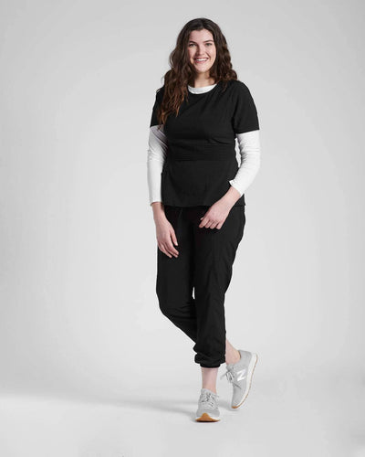 Black scrub tops and pants by Happily Scrubbed