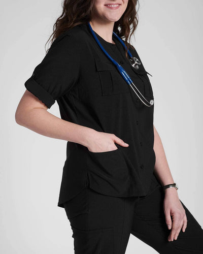 Fashion scrub top in black