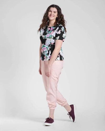Black floral medical scrub top jogger pant by Happily Scrubbed