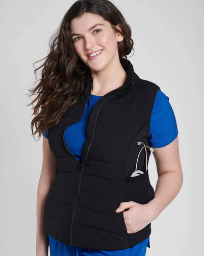 Black Vest Jacket and blue scrub top by Happily Scrubbed