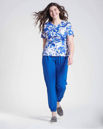 Blue floral print top and jogger scrub pant by HappilyScrubbed