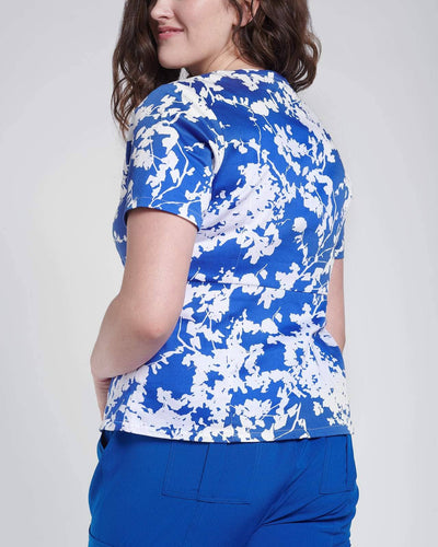 Fashion scrub top in blue floral print by Happily Scrubbed