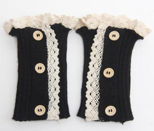 Women Knit Leg Warmers Lace Boot Cuffs Boot Toppers Button Boot Socks Boot Covers Gaiters Leg Warmer Calentadores Piernas Mujer
