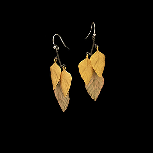 Autumn Birch Earrings - 3 Leaf Wire