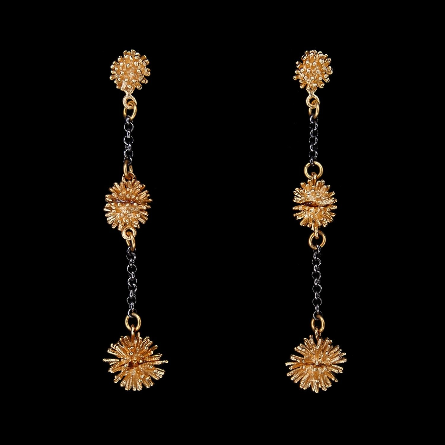 Gone To Seed Earrings - Two Tone Long Triple Dangle Post